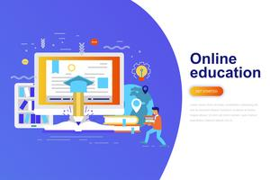 Online education modern flat concept web banner with decorated small people character. Landing page template.