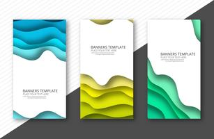 Papercut colorful banner set template design