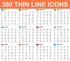 Simple set of vector thin line icons. Contains such Icons as Business, Marketing, Shopping, Banking, E-commerce, SEO, Technology, Development, Finance. 48x48 Pixel Perfect. Linear pictogram pack.