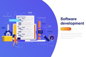 Software development modern flat concept web banner with decorated small people character. Landing page template.