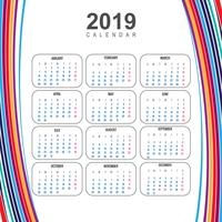 Modern 2019 colorful calendar template with wave vector