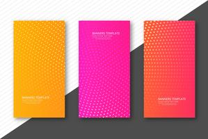 Abstract dotted colorful banners set template design