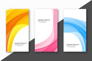 Abstract wave colorful banners set design