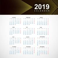 Resumen calendario plantilla colorida 2019 con vector geométrico