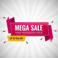 Mega sale banner colorful ribbon design