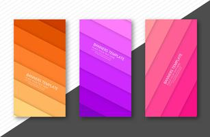 Modern papercut colorful banner set template vector illustration