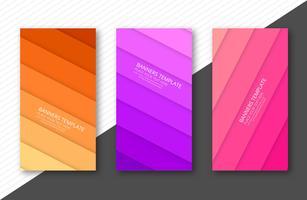 Papercut colorido banner conjunto plantilla vector ilustración