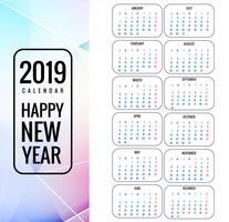 Calendar 2019 Template with colorful polygon background