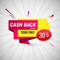 Cashback venta colorido diseño de banner