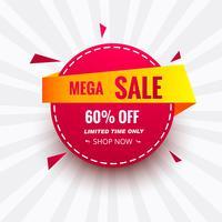 Mega verkoop banner kleurrijke creatieve cirkel pictogram ontwerp