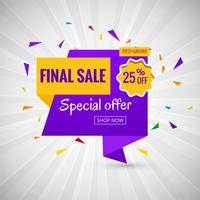 Final Sale banner colorful design vector
