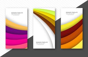 Elegante papercut kleurrijke banner instellen sjabloon achtergrond