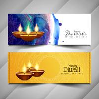 Abstract beautiful Happy Diwali banners set