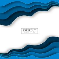 Papercut blue wave colorful design vector