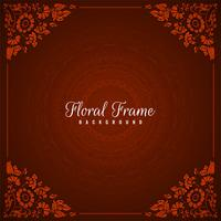 Abstract floral frame red background