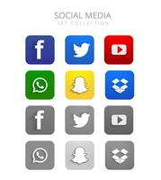 Beautiful colorful social media icons set vector