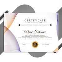 Abstract colorful wavy certificate template design