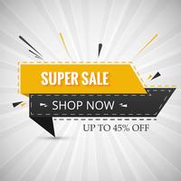 Creative super sale banner for your ribbon design vector