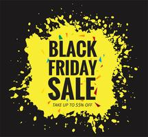 Modern Black Friday banner with yellow grunge vector design