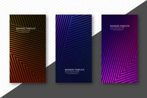 Modern geometric lines colorful template banners set design