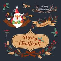 Christmas Wreath Elements and Decoration Design. Vector Illustra