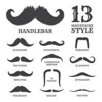 Isolated Silhouette Moustache Collection With Name of Style. Vec