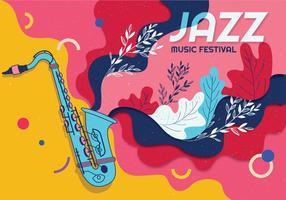 vecteur de festival de jazz saxaphone