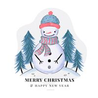Cute Snowman With Christmas Tree
