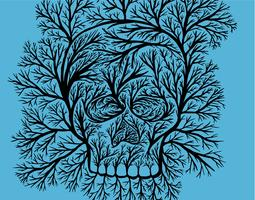 Tree branch skull vector