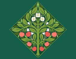art nouveau fruit tree vector