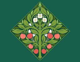 art nouveau fruktträd