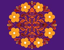 floral circular badge