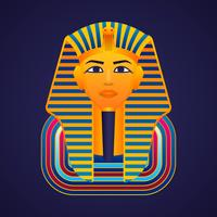 Pharaons d'or égyptiens masque icône illustration vectorielle