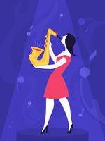 Mujer, juego, saxofón