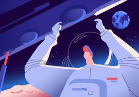 Astronout viagens para a lua ilustração em vetor fundo