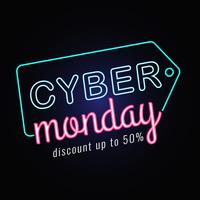 Cyber Monday Sale Neon  vector