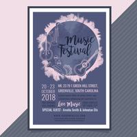 Cartel del festival de música de vector