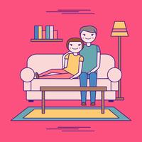 Chill Couple On The Couch Vector