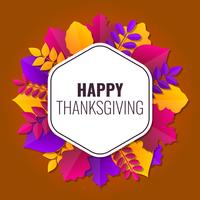 Lycklig Thanksgiving Frame Vector Paper Art Illustration
