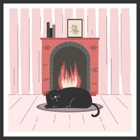 Cat By The Fireplace Vector
