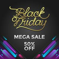 Black Friday Mega Venda Social Media Post Vector