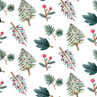 Cute Chritsmas Leaves With Tree Pattern