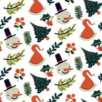 Cute Christmas Pattern With Snowman, Tree And Leaves