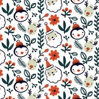 Cute Christmas Pattern Wirth Reindeer, Penguin And Leaves