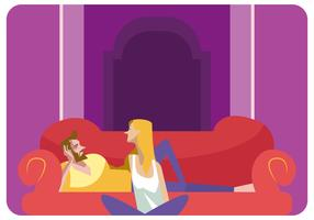 Romantic Couple in Sofa Vector