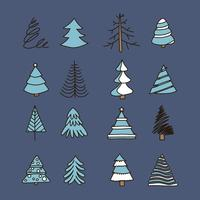 Doodled Vintage Christmas Trees