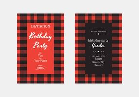 Buffalo Plaid Einladungs-Vektor-Vorlage