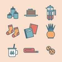 Conjunto de iconos acogedoras contorneado