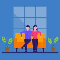Cartoon Couple Sitting On The Sofa Vector Illustration