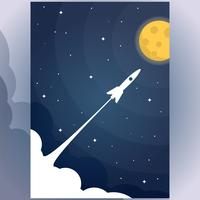 Flying Rocket In The Star To The Full Moon Flat Design Illustration